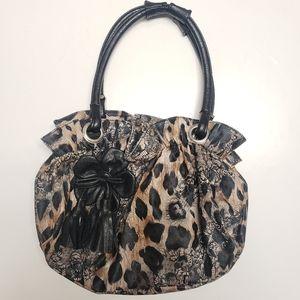 Leopard/Lace Print Faux Leather Small Handbag